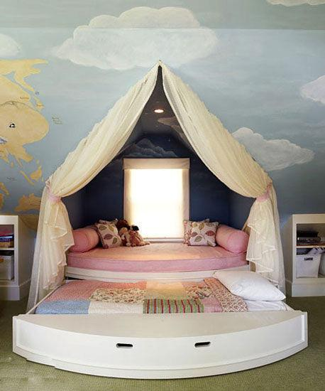 10個創意兒童房背景牆 七彩童話入夢來 藍天白雲的牆面
