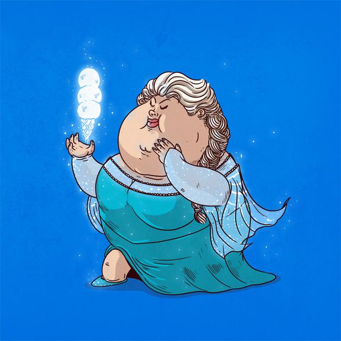 17张全都「吃到过胖」的可爱卡通人物爆笑图!