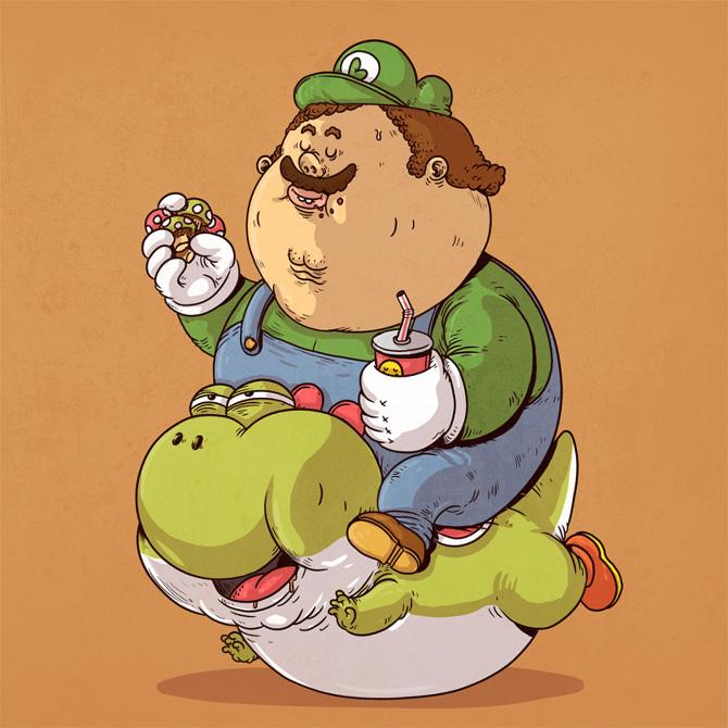 17张全都「吃到过胖」的可爱卡通人物爆笑图!图片