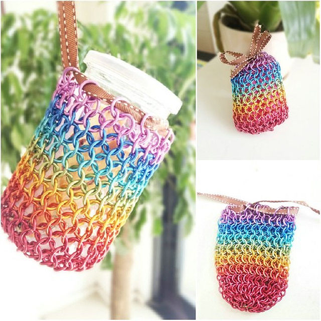 利用金屬線製作漂亮彩虹袋子 DIY rainbow wire bag