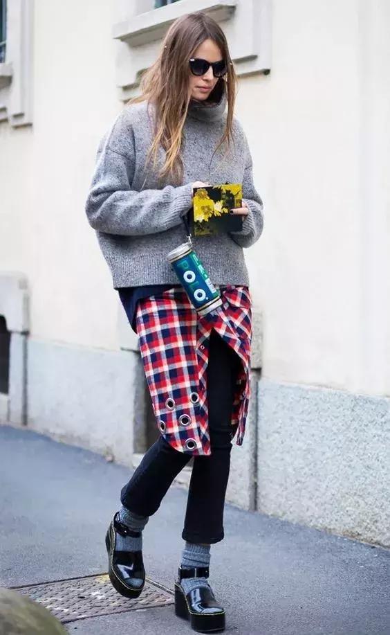 襯衫+毛衣,秋天想多潮,就有多潮!