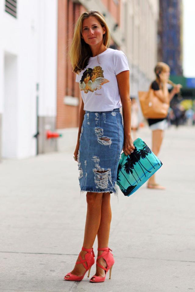 有了牛仔短裙,誰都能穿出時髦顯瘦高街LOOK!