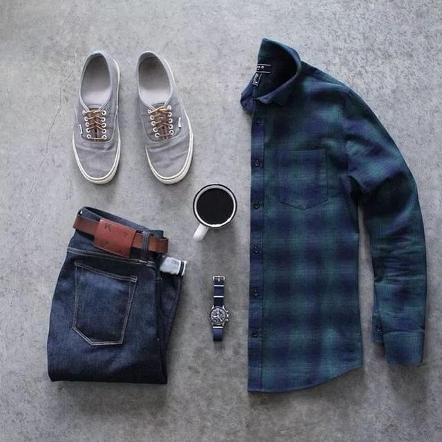 男士,襯衫+帆布鞋,才是真暖男!